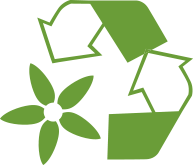 Green Ecodical icon with two arrows and a flower forming a triangle symbolizing the biodegradable concept