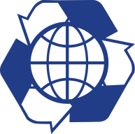 blue ecodictionary icon with three arrows and the world forming a triangle symbolizing life cycle concept