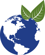 ecodiscover icon with a world and two leaflets that symbolize the concept of ecology