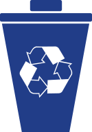 blue ecodesign icon with a recycle basket and symbol symbolizing the composting concept