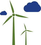 ecodesign icon with wind blades symbolizing the concept of renewable energy