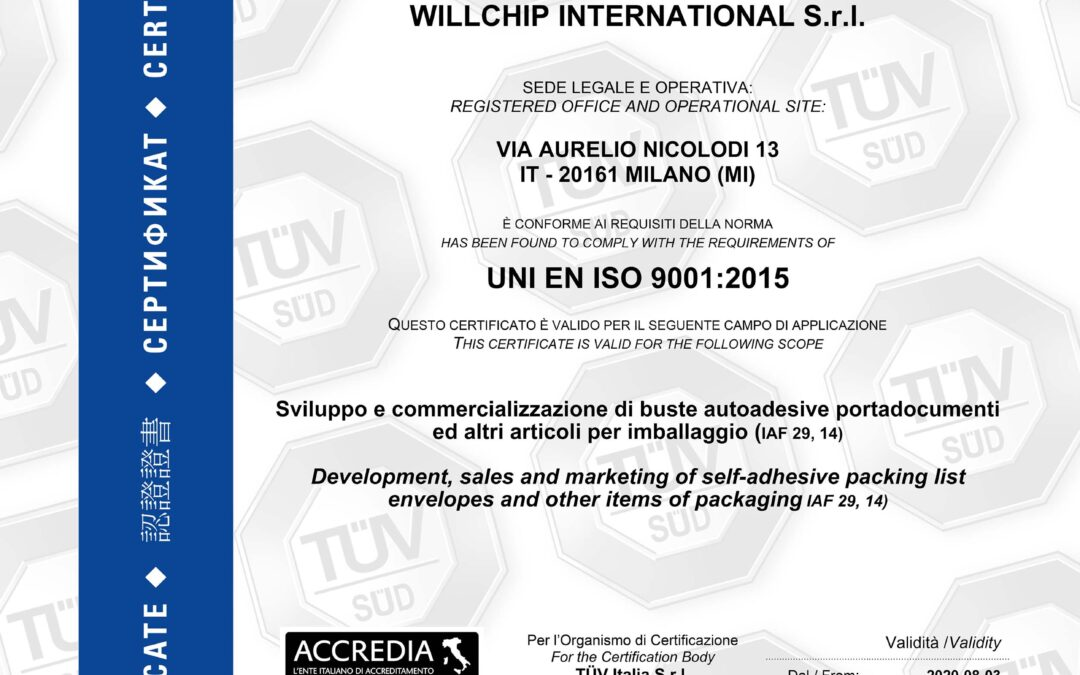 Willchip International rinnova la Certificazione UNI EN ISO 9001:2015